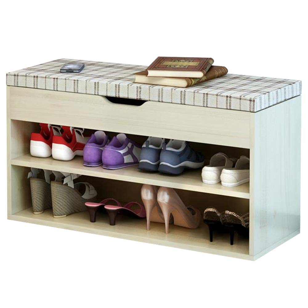 FKUO Shoe Rack Bench Double-Layer Storage Cabinet,Shoe Organizer,Storage Shelf,Holds Up to 150KG,Ideal for Entryway Hallway Bathroom Living Room and Corridor(80cm, Sakura Maple Square A)