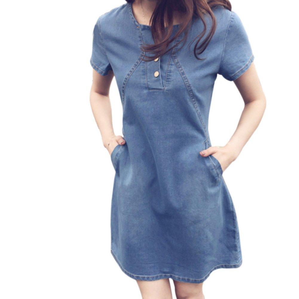 Yiitay Women Summer Plus Size Denim Dresses Casual Elegant Cowboy Dresses Jeans Dresses at Amazon Womens Clothing store: