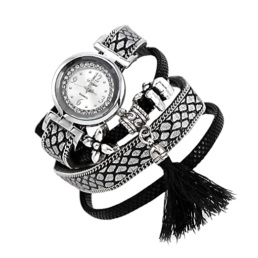 b4553cf7a1b Mes-Bijoux-Bracelets Montre Bracelet Quartz Bijou Femme Cuir retourné Coton  Argenté 2 Rangs