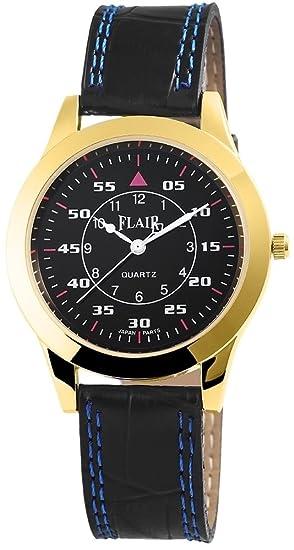 Reloj mujer con piel imitación pulsera reloj de pulsera reloj Watch Negro 100301100019: Amazon.es: Relojes