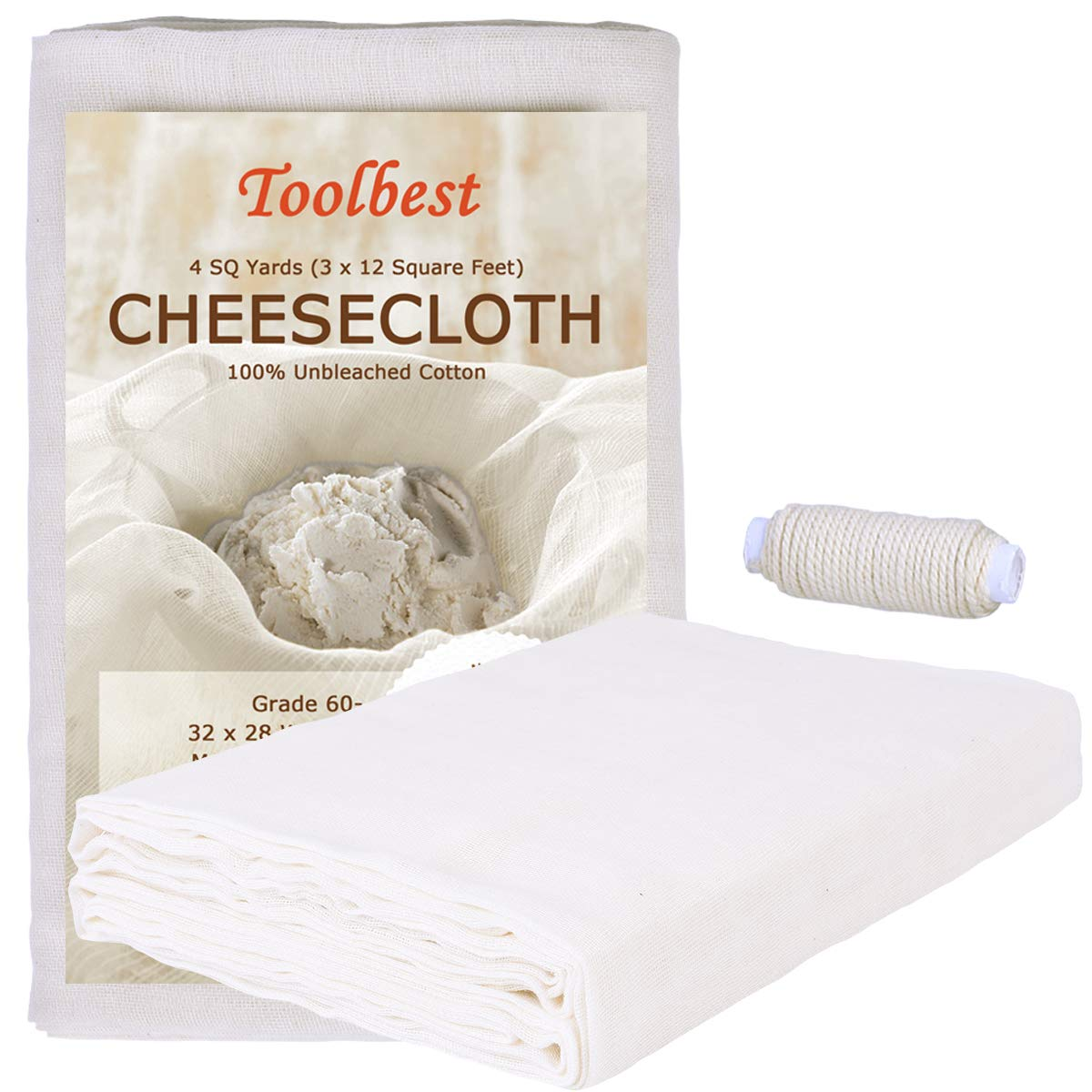 Cheesecloth, Grade 60, 36 Sq Feet, 100% Unbleached Cheesecloth Fabric for Cooking with Cooking Twine, Washable & Reusable Cotton Strainer, Filter(4 Sq Yards Cloth with 4 Yards Twine) SCENGCLOS