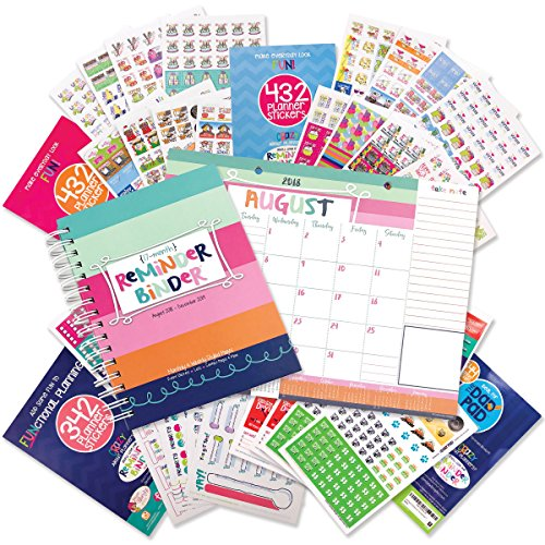 2018-2019 (17-Month) Planner & Monthly Planning Pad with Variety Sticker Set - 6.5