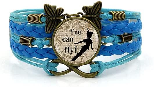 fangfaner Cuento de Hadas Hora Mundial Pulsera de Piedras Preciosas Peter Pan Joya de Cristal Volador-Azul: Amazon.es: Joyería