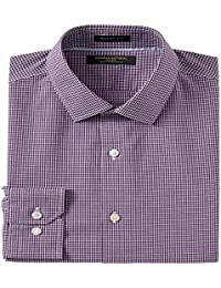 Grant Slim Fit Non-Iron Stretch Check Shirt-Purple