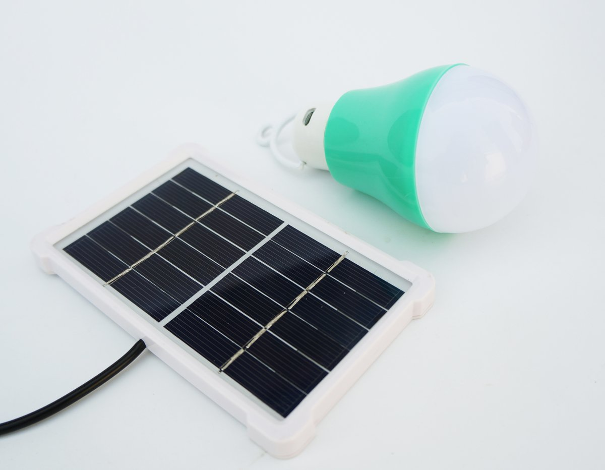 Solar Bulb Lights,Rechargeable Solar Panel Powered Shed Light 5W Portable Led Bulbs Light Charged Solar Energy Lamp Home Lighting for Indoor Outdoor Camping Garden Emergency Lighting