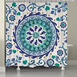 Underwater Medallion Motif, Coastal Top Shower Curtain, Abstract Sea Shells Seahorse Corals Starfish Clamps Style, Modern Home Adults Bathroom Decoration, Ocean Vines Design, Blue, Teal, Size 71 x 72