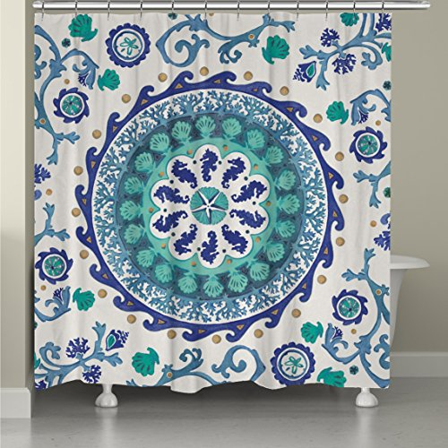 (Underwater Medallion Motif, Coastal Top Shower Curtain, Abstract Sea Shells Seahorse Corals Starfish Clamps Style, Modern Home Adults Bathroom Decoration, Ocean Vines Design, Blue, Teal, Size 71 x 72)