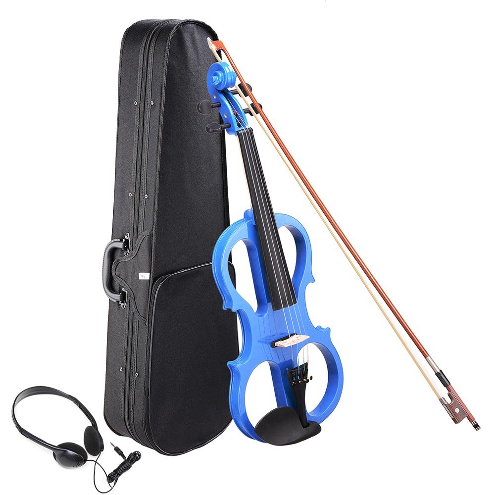 AW 4/4 Electric Violin Full Size Wood Silent Fiddle Stringed Instrument Bow Headphone Case Blue by AW
