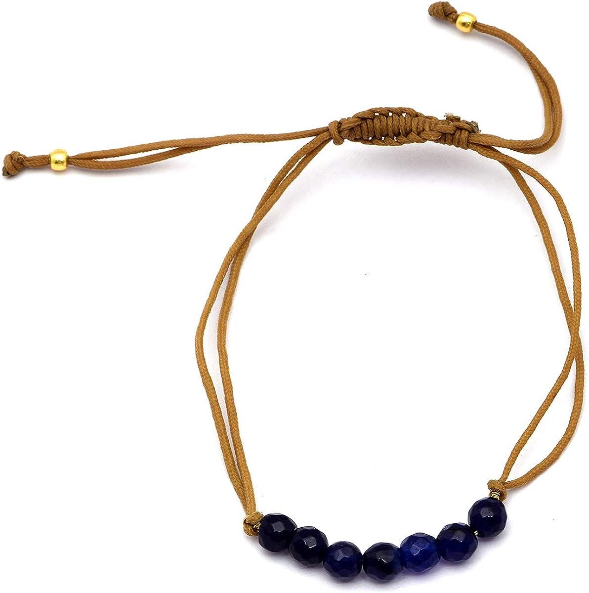 Shine Jewel Pulsera de meditación de ónix Azul Oscuro de 7 Piedras en Plata 925