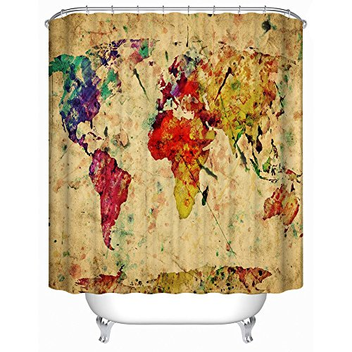 Uphome Vintage Colorful Bathroom Curtain
