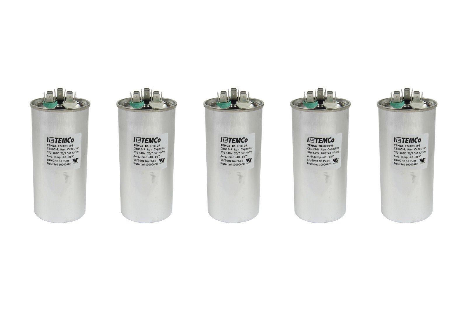 TEMCo 5 LOT Dual Run Capacitor RC0199-70/7.5 mfd 370 V 440 V VAC volt 70+7.5 uf AC Electric Motor HVAC