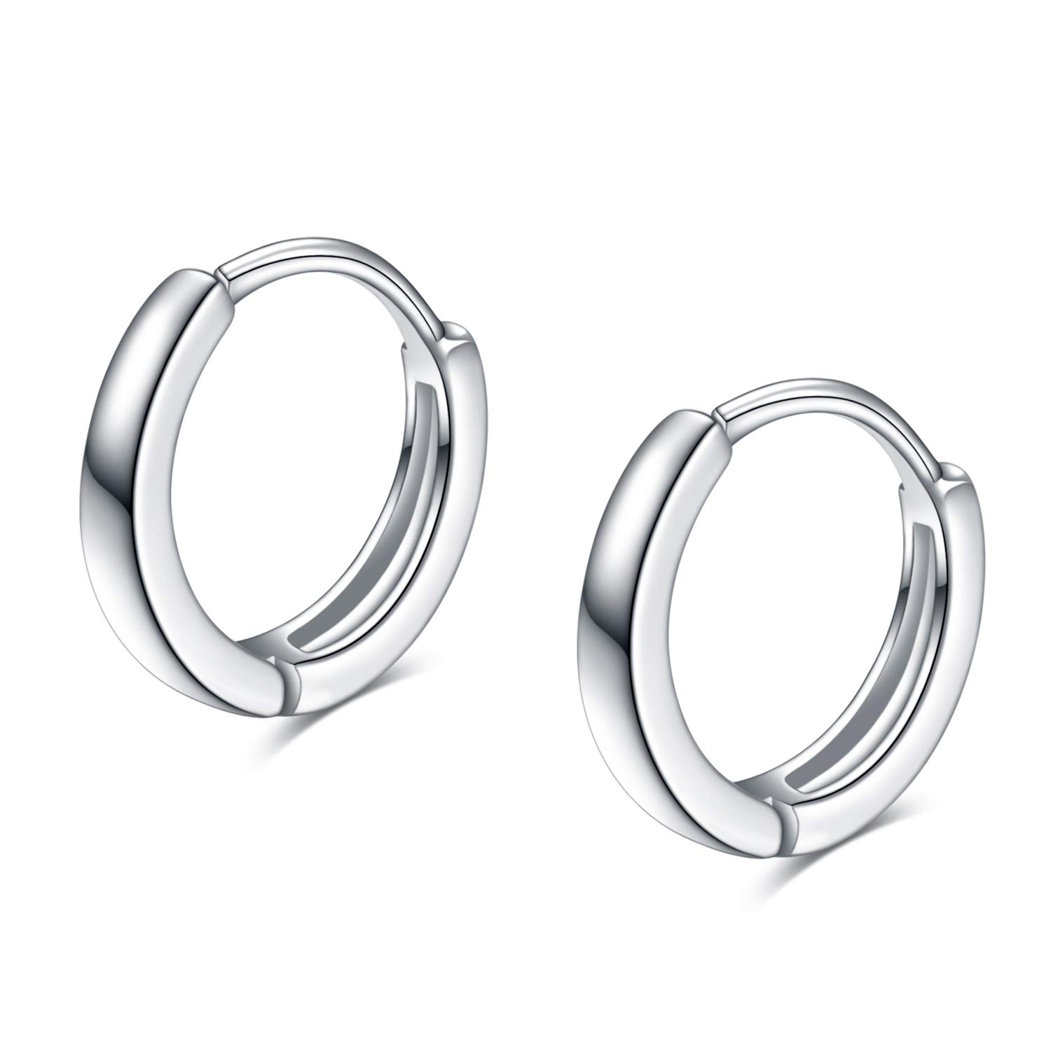 YFN Sterling Silver Cartilage Hoop Hypoallergenic Tiny Small Earrings for Women Teen Girls (Silver)