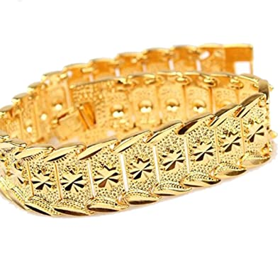 Amazoncom happy2girls Wrist Chain 24k Gold Plated Noble Mens