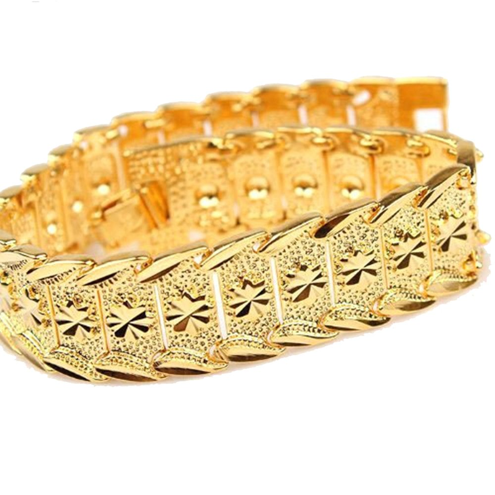 Amazon.com: happy2girls Wrist Chain 24k Gold Plated Noble Men\'s ...