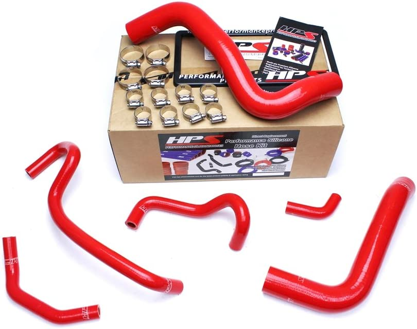 HPS 57-1467-RED Silicone Radiator and Heater Hose Kit Coolant