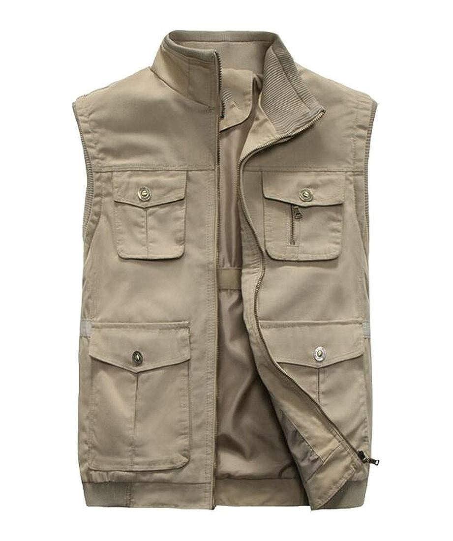 Cromoncent Mens Waistcoat Fish Slim Multi Pockets Photograph Vest
