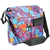 Wheelchair Bag (Purple Floral) By Vive - Essential Wheelchair Accessory Compatible with Rolling Walkers & Transport Chairs - Hands Free Storage for Disability Equipment - Vive Guarantee