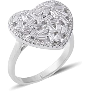 ELANZA Cubic Zirconia CZ Silver Engagement Anniversary Cocktail Cluster Ring
