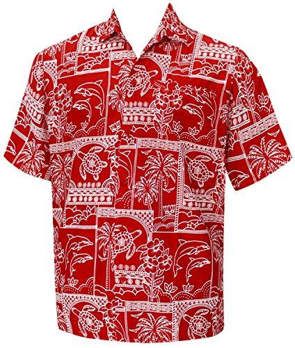 La Leela hawaïen vintage bouton régulier ajustement vers le bas classique court aloha manches chemise hommes xs verts - 5XL Rouge