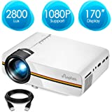 ELEPHAS Projector, Upgraded 2200 Lumens LED Video Projector, Updated LCD Technology Support 1080P Portable Mini Multimedia Projector Ideal for Home Theatre Entertainment Games Parties, White