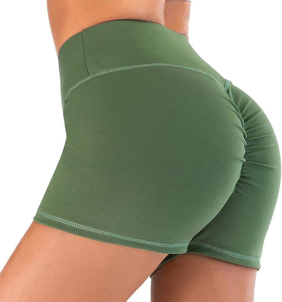 IMEKIS Damen Kurze Hosen Sport Leggings Yogahose Einfarbig Hohe Taille Sporthose Fitness Workout Joggerhose Stretch D/ünne Kompression Laufhose TightsGeraffte Hotpants Unterhose