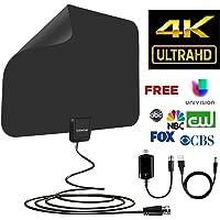 HD TV Antenna 65Miles Range Compatible 4K 1080P Free TV Channels Powerful Detachable Amplifier Signal Booster,Longer Coax Cable
