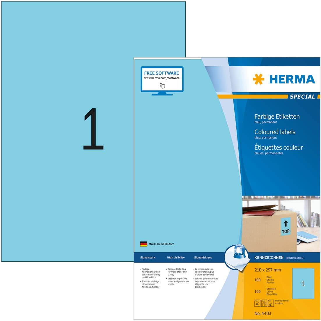 Red 18900 Labels For Printers HERMA Self Adhesive Coloured Labels 25.4 x 10 mm 189 Labels Per A4 Sheet 4238