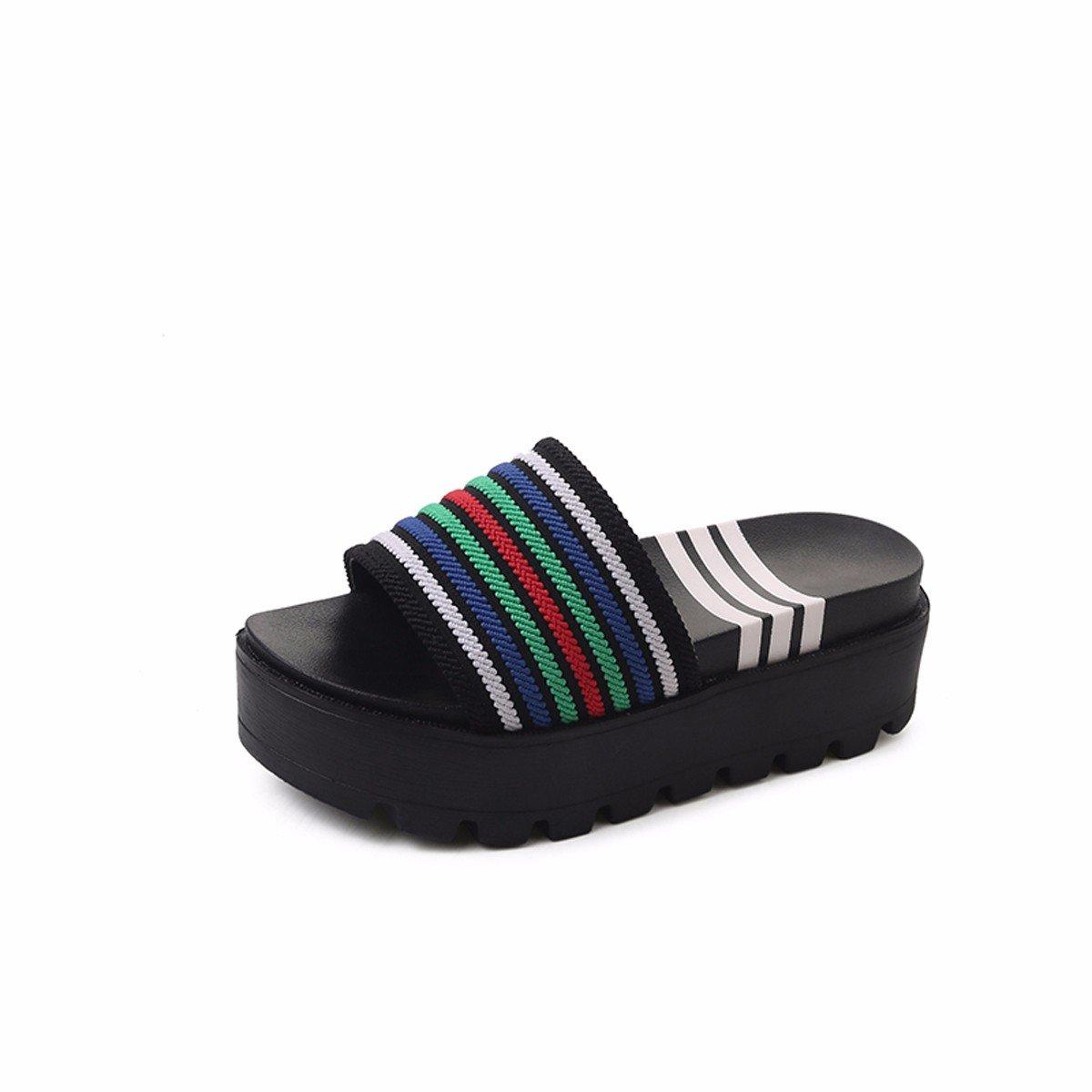 HBDLH Damen Hausschuhe Schuhe  Fashion Frauen Sommer Muffins Dick Tiefste 6 cm High Heels Wort Drag Joker Außen Wear Cool Hausschuhe Wasserdicht Plattform.