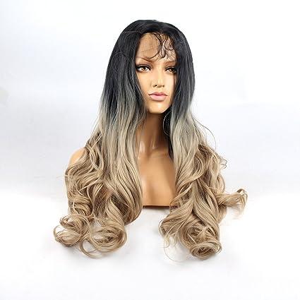 Life Diaries ® larga onda natural ondulado pelucas de encaje frontal Ombre rubia no maraña 250