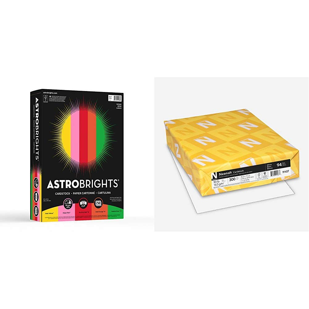 Neenah Paper Astrobrights Cardstock, 8.5'' x 11'', 65 lb / 176 GSM,''Vintage'' 5-Color Assortment, 250 Sheets, Multi-Colored &  Cardstock, 8.5'' x 11'', Heavy-Weight, White, 94 Brightness, 300 Sheets