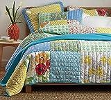 3pcs Handcrafted Hawaii Cotton Quilt Coverlet Bedspread Bedding Comforter Set King Size