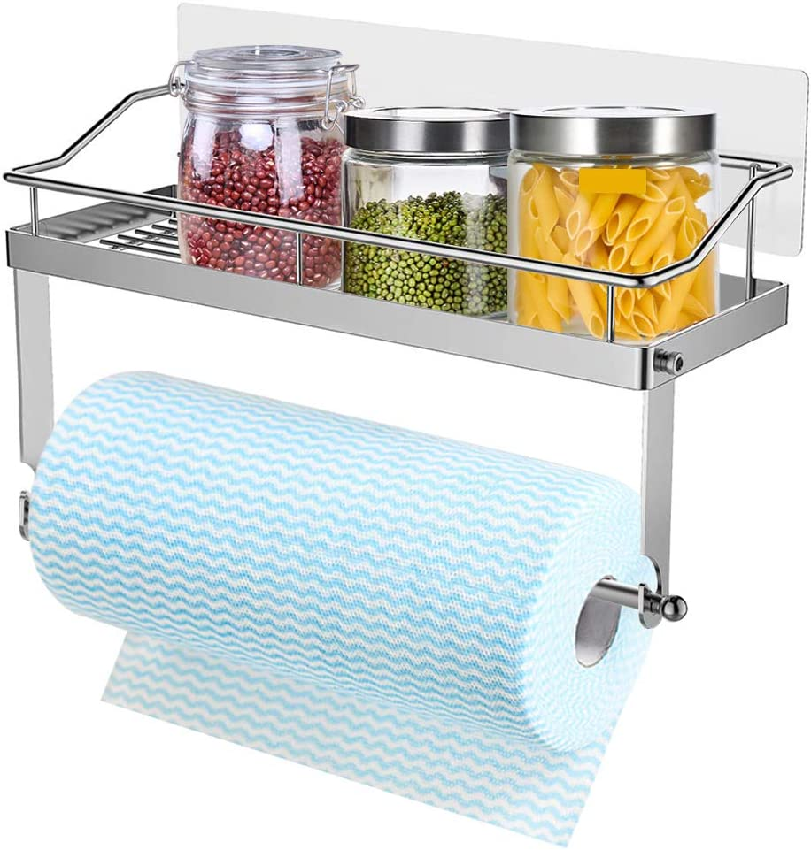 Adhesive Paper Towel Holder with Shelf Storage,Wall Basket for Kitchen /&Bathroom