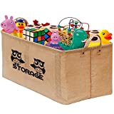 Gimars Easy Carrying 22×15″ Well Standing Toy Chest Baskets Storage Bins for Dog Toys, Kids & Children Toys, Blankets, Clothes – Perfect for Playroom & Living Room
