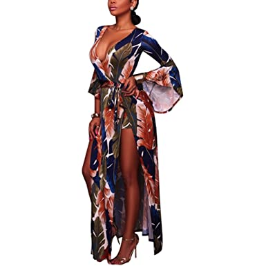 1ffd4e50031 Women s Long Sleeve Deep V Neck Feather Print Long Maxi Dress Rompers  Jumpsuit A-Line