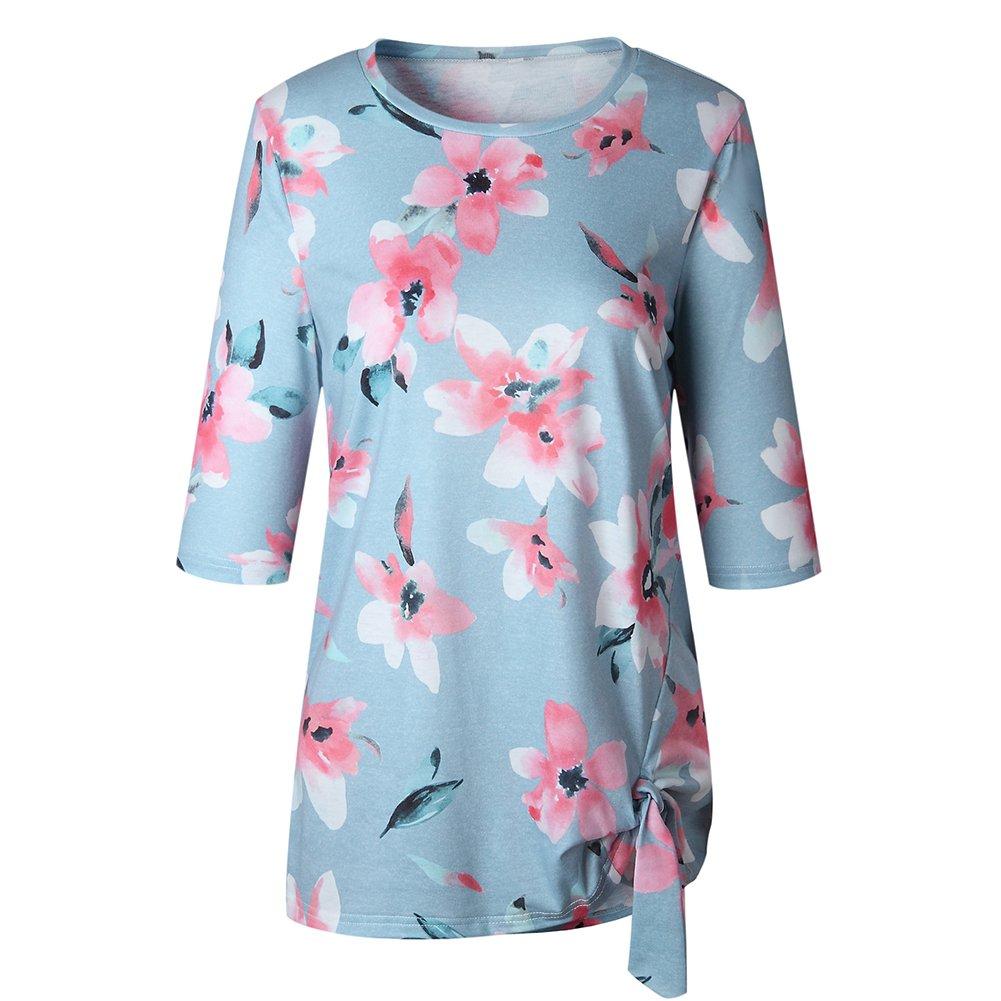 Antopmen Summer Women O Neck Half Sleeve Floral Print T-Shirt Comfy Casual Tops (Large, Blue) by Antopmen (Image #4)
