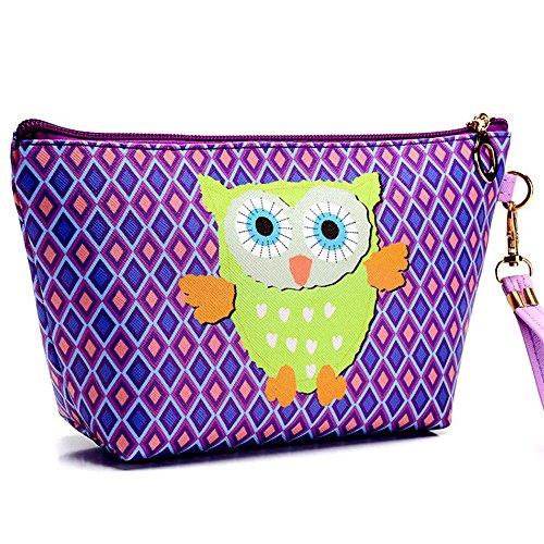Fan-Ling Portable Multi-function Owl Cosmetic Case Pouch Zip Toiletry Organizer,Travel Makeup Clutch Bag For Women Girl (E)