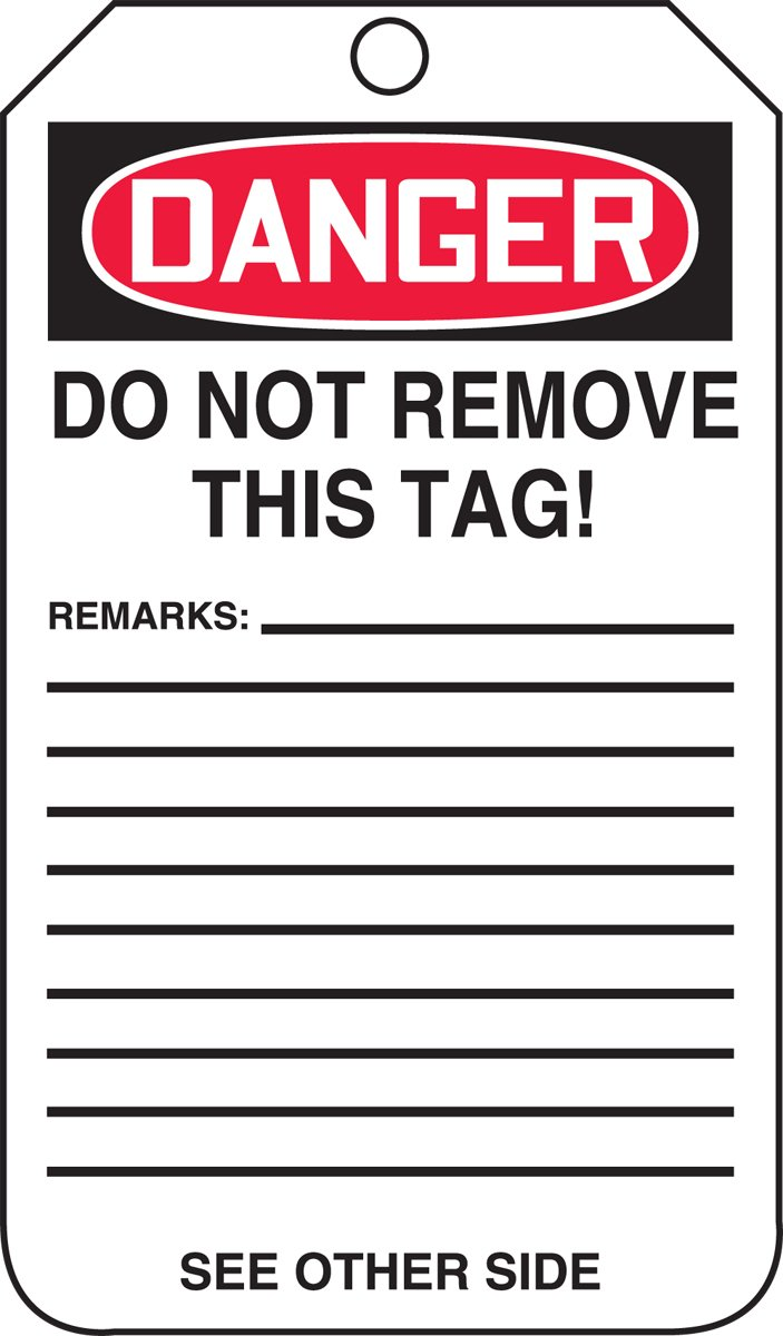 LegendDanger Out of Service 5.75 Length x 3.25 Width x 0.010 Thickness Pack of 5 Accuform MDT246CTM PF-Cardstock Safety Tag Red//Black on White