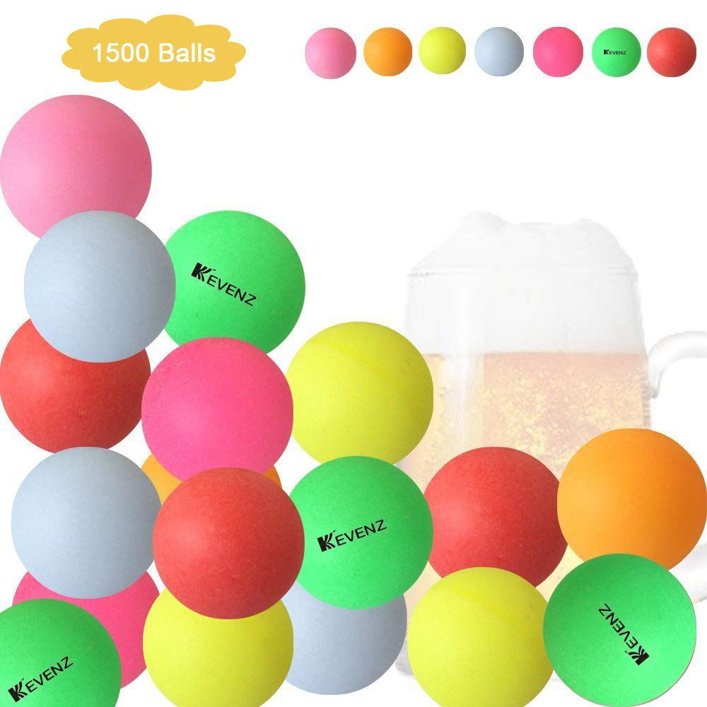 KEVENZ1500-Pack 40mm Beer Ping-Pong Multipul Color Balls,Washable Plastic Glow in The Dark, Plastic Table Tennis Ball (Multipul Color_1500-Pack)