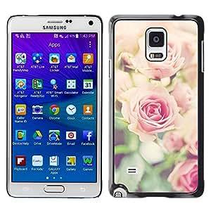 Rose Vignette floral rosado Primavera Naturaleza- Metal de aluminio y de plástico duro Caja del teléfono - Negro - Samsung Galaxy Note 4