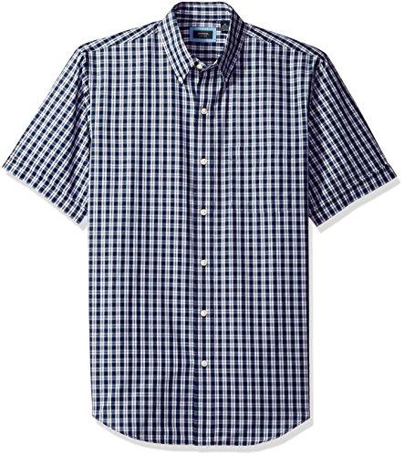 Arrow Men's Hamilton Plaid Short Sleeve Shirt, Peacoat, X-Large