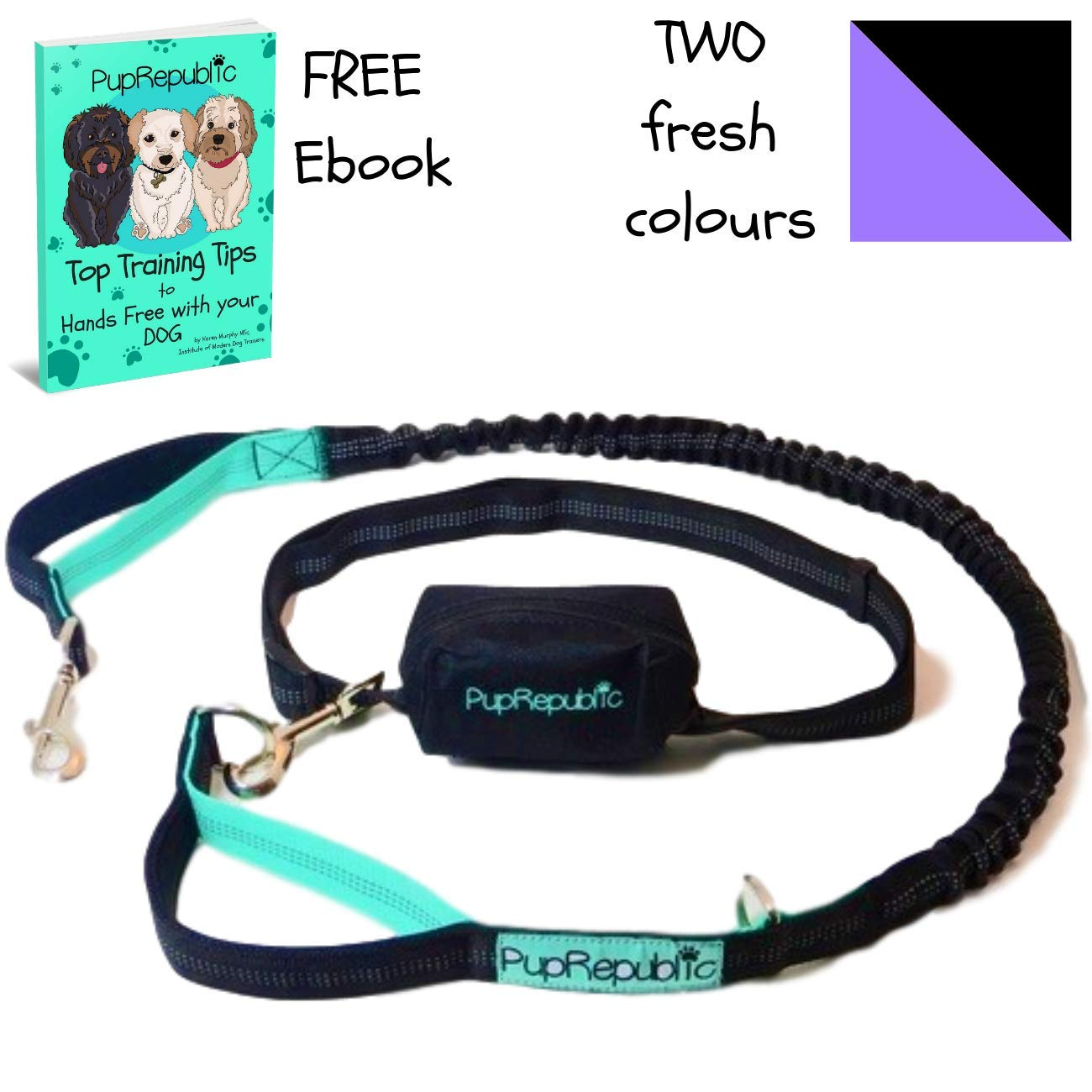 PupRepublic Hands Free Dog Lead for Running Walking Hiking.Adjustable Waist Belt,Reflective Bungee Lead FREE Poo Bag Pouch