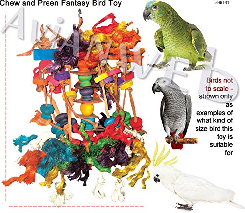 Chew & Preen Fantasy Bird Toy - for the SERIOUS Chewers & Preeners! (Large) by Avianweb