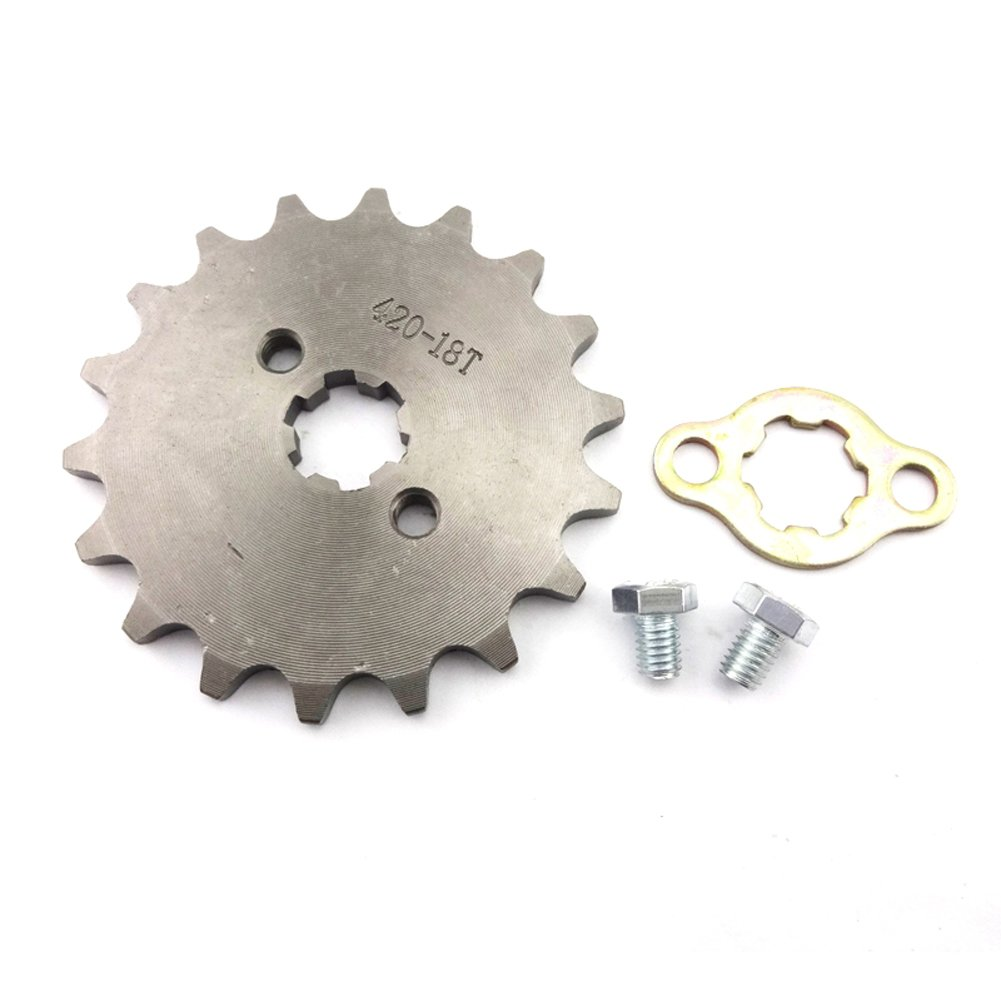 Race-Guy 420 18 Tooth 17mm Front Chain Sprocket Gear 50cc 70cc 90cc 110cc 125cc 140cc 150cc 160cc Engine ATV Quad Pit Dirt Trail Bike