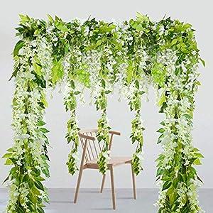 Furnily 4PCS 6.6FT Artificial Wisteria Hanging Garland Silk Hanging Flower Rattan Fake Flowers Wisteria Garland(White) 118