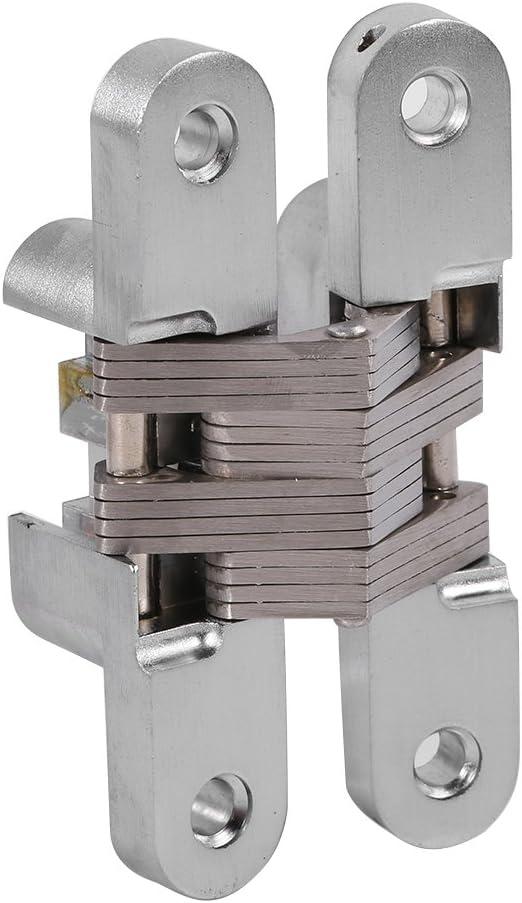 EJL16X70-2P 2 piezas Acero inoxidable Acabado cepillado Sayayo Bisagra oculta de 180 grados para gabinete Armario Caja de madera Tornillo montado