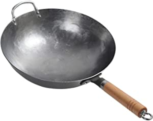 Lawei 14 Inch Carbon Steel Pow Wok - Hand Hammered Wok with Wooden and Steel Helper Handle, Round Bottom Wok