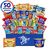 My  College  Crate   Microwave  Snack Care Package -  50 Piece  Bulk Variety Pack Box for Adults  and  Kids  with Ramen  Mix ,  Popcorn, Mac n Cheese, Assorted Chips, Granola Bars and Candy