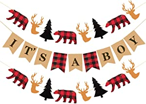 MaxFor Lumberjack Baby Shower Banner, Buffalo Plaid Rustic Hunter Theme It's A Boy, Camping Bear Baby Shower Decorations Supplies, Lumberjack Gender Reveal Banner