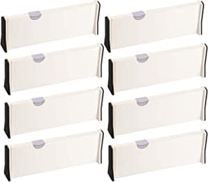 """Adjustable Drawer Dividers Organizer Separators 11""""-17"""" for Closet,Clothing, Office, Kitchen Storage, Strong Secure Hold, Foam Ends, Locks in Place (8 PACK)"""