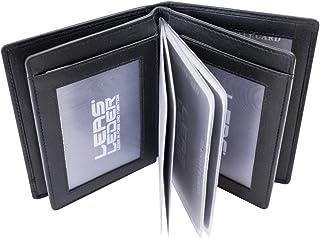 LEAS Ausweis- & Kreditkartenmappe/-hülle hochwertig verarbeitet Echt-Leder, schwarz Card-Collection